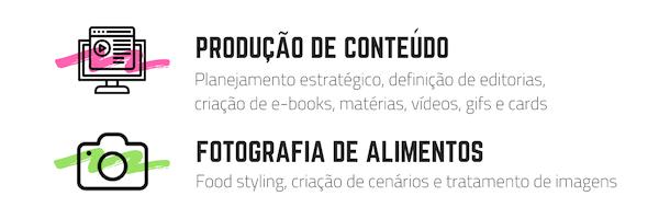 Serviços - Produção de conteúdo e fotografia de alimentos