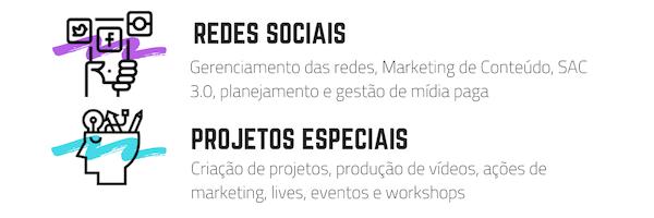 Serviços - Redes sociais e projetos especiais